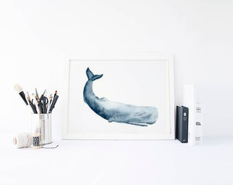 Watercolor Whale, Whale Print, Whale Art, Whale Nursery, Boy Nursery, Nautical Print, Little Boys, Beach Decor, Sperm Whale
