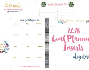 "2018 Letter Size Printable Goal Setting Planner Inserts for 8,5x11"" Binder OR BIG Happy Planner!"