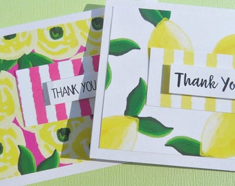 Set of 2 Floral Thank You Cards,Citrus Thank You Notes, Pink Note Cards, Modern Note Cards, Lemon Thank You Cards, pync1