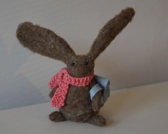 Adventurous Needle Felt Rabbit with Backpack and Scarf,Handmade, Autumn,Bunny,Woodland,Critter,Needle felt,Animal, OOAK, Miniature,Gift,Home