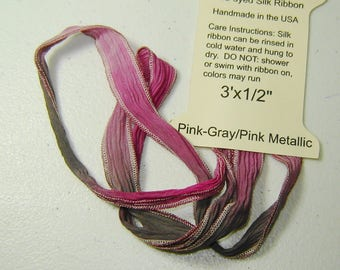 """Silk Ribbon Ties, PINK-GRAY, PINK Metallic Edges, Handmade and Hand-dyed 1/2""""x36"""" long, Necklaces, Wrap Bracelets, Embellishments, Hair"""