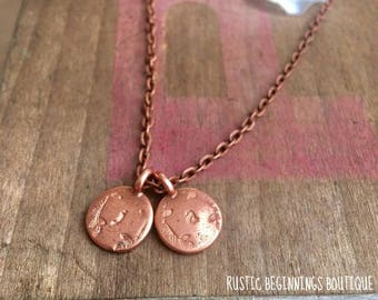 Mother' Initial Charm Necklace, Hand Stamped Child's Initial Copper, Copper Hand Stamped, Hand Stamped Necklace