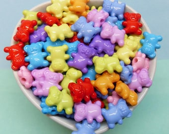 25x Gummy Bears Acrylic Beads 15mm by 12mm Bright Colours