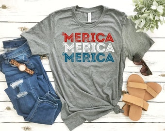 Red White and Blue July 4th Shirts - 'Merica - Funny Independence Day Short-Sleeve Unisex T-Shirt