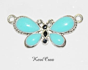 1 x blue enameled silver Butterfly connector