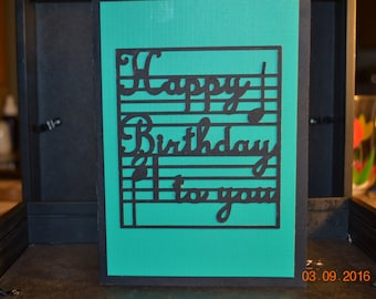 Happy Birthday to you Card. This homemade birthday card is black and green with all the sentiments for a great birthday wish.