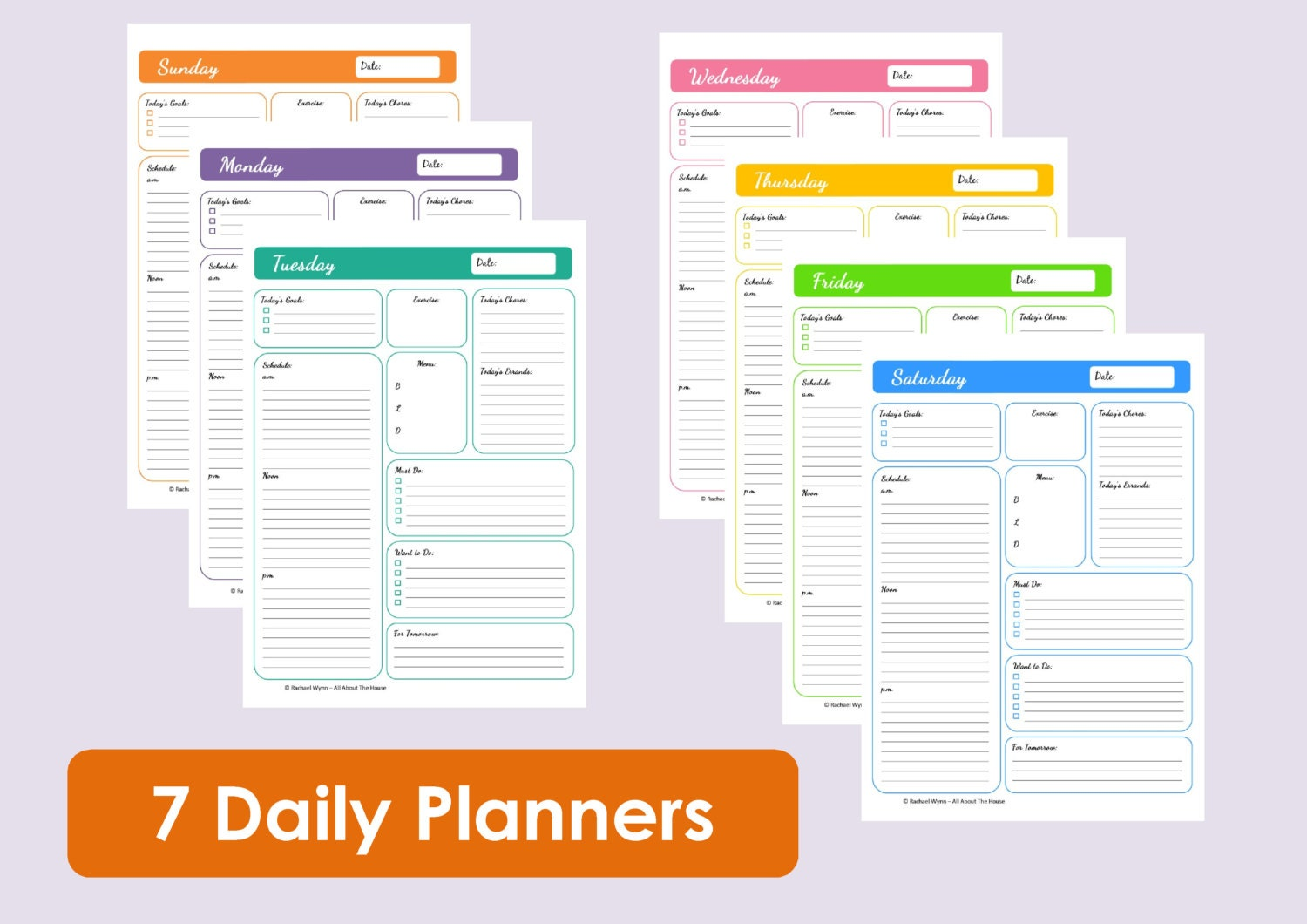 MULTICOLOURED Printable Daily Planners Time Management 7