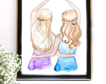 Sister Gift, Best Friend Gift, Besties Illustration, Fashion Print, Gift For Friend, Gift for Her