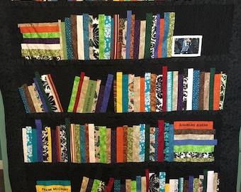 Decorative Books, Little Golden Books, Miniature Books, Vintage Books, Bookshelf Quilt,Bookshelf Quilt, Book Quilt, Quilt of Books, Authors