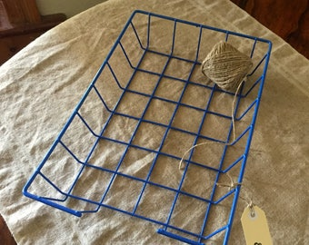 Fabulous VINTAGE bright blue wire coated basket / tray. Industrial decor. Great storage.