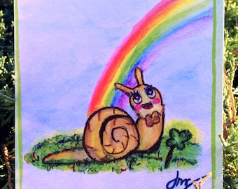 Lucky Snail Greeting Card - St. Patrick's Day, Good Luck, Shamrock, Clover - Watercolor Illustration