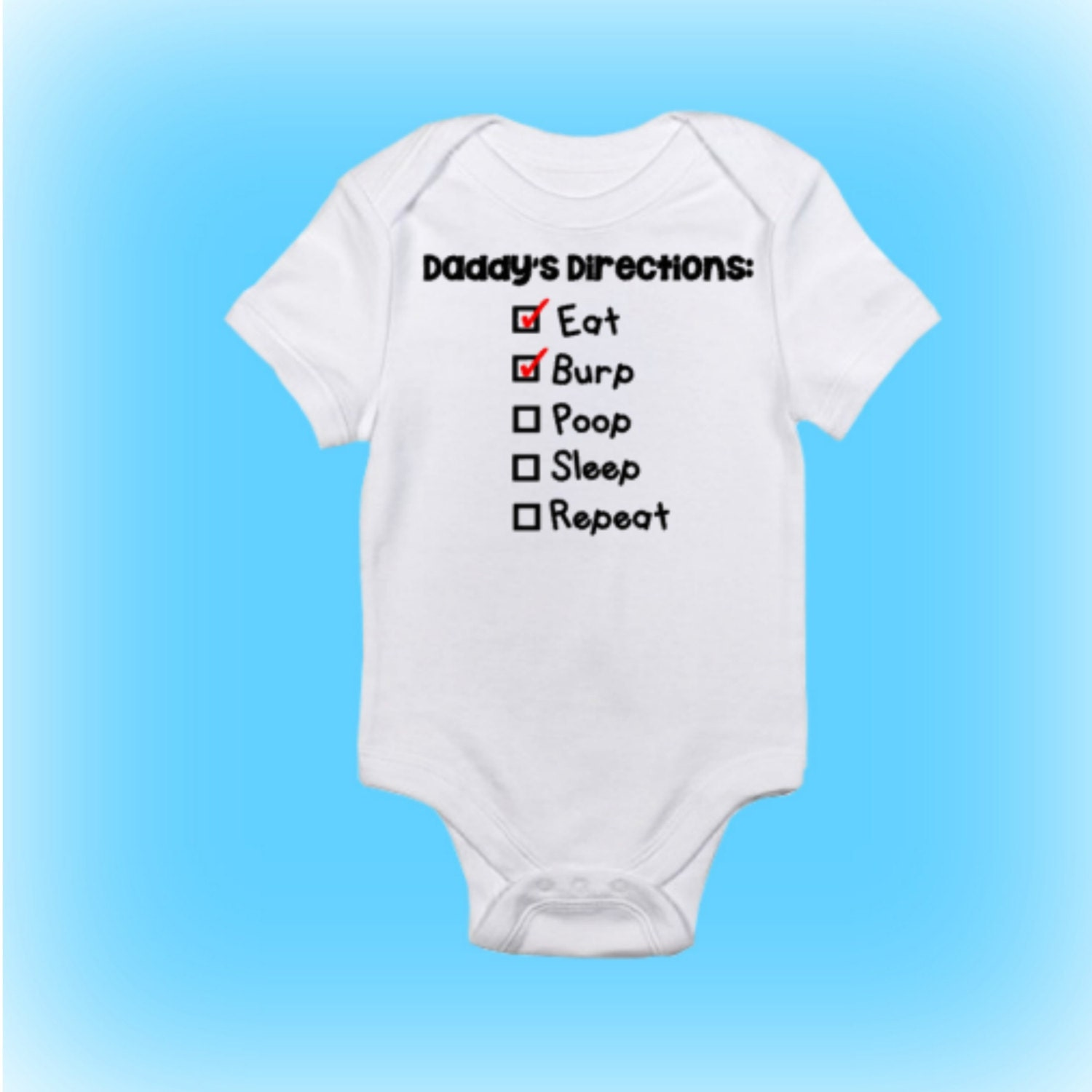 Daddy Directions Themed esie Unique Shower Gift Baby