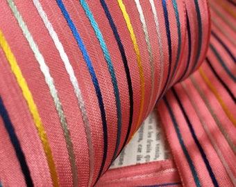 Antique French rayon ribbon, pink stripes, 4.875 inch wide. Price per metre