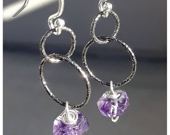 Vibrant Amethyst Sterling Silver Dangle Earrings. Gorgeous color!!