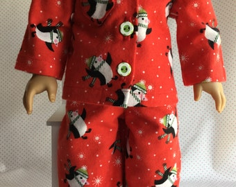 PENGUIN FLANNEL PAJAMAS Fits American Girl and Other 18 Inch Dolls
