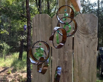 brown, green, GLASS WINDCHIMES-RECYCLED bottles, eco friendly  wind chime, garden decor, wind chimes,   musical, home decor, mobile