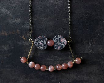 red jasper necklace leopard jasper pendant sunstone necklace jasper Heart necklace gold long statement necklace modern minimalist jewelry