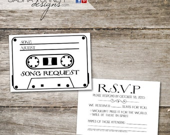 Cassette Tape RSVP Card • Song Request Card • Wedding RSVP Card with Song Request • Cassette Tape Song Request Card • DIY Wedding
