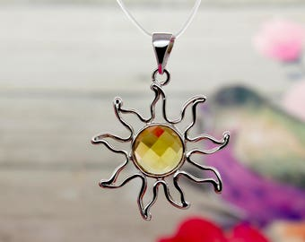 Natural Citrine Pendant Citrine Faceted Round Gemstone Solar Sun Shape Pendant Silver Plated