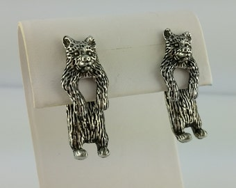 Vintage pewter or gold plated EARlusion 3D Grizzly bear earrings