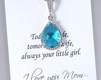 Teal Necklace, Teal Wedding Necklace, Mother of the Bride Gift Necklace, Gift for Mom, Teal Wedding Jewelry, Stepmother Gift