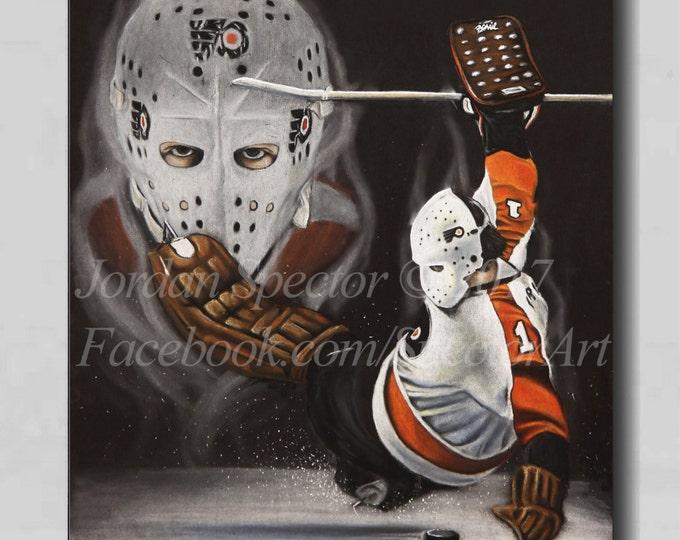 Bernie Parent Painting - Philadelphia Flyers - Canvas Print - Philadelphia - Man Cave - Flyers - Dorm Decor - Flyers Fans - Flyers Hockey