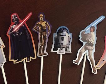 Star Wars Cupcake Toppers (6), Star Wars Birthday Party, Star Wars Cake Toppers, Star Wars