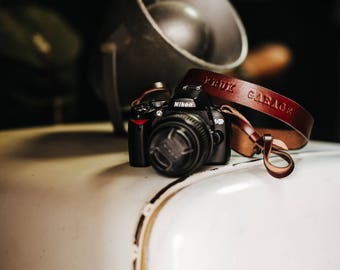 Camera strap by Kruk Garage Leather camera strap Camera accessories Shoulder strap Fotostrap Photographer gift FREE PERSONALIZATION