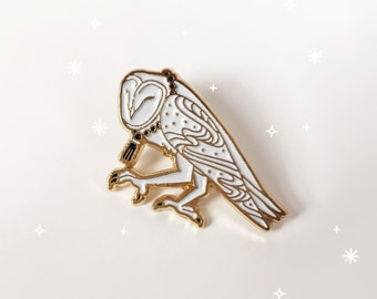 Barn Owl Pin, Soft Enamel Lapel Bird Pin, Collectible Art Jewelry by Minnow&Moss