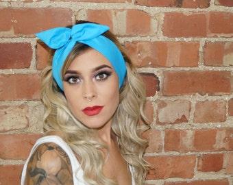 Bright Blue plain Vintage Festival wired Rockabilly Pin up Headband Headwrap