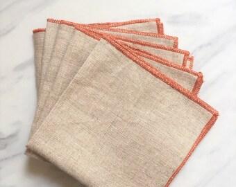 Linen Napkin Orange Overlocked Edge - Set of 5