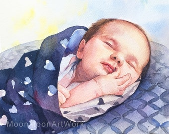 mother's day gift, Custom baby Portrait, Custom Portrait, Personalized gift, Child portrait, Handmade painting, original watercolor painting