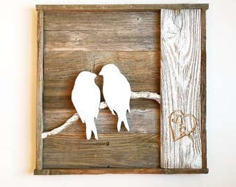 Bird Sign with Personalized Initials and Carved Heart- Fifth Wedding Anniversary Sign- Mother's Day Sign- Valentine's Day Sign
