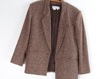 Vintage Tweed Blazer / 80's PATRICIA ROBERTS Woven Jacket / Brown Sport Coat / Large
