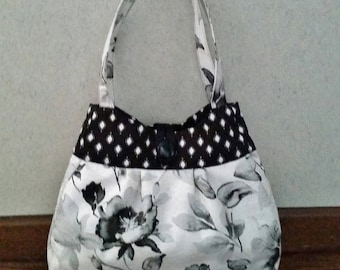 Bags and purses, Fabric handbag, Floral purse, Black and white bag, Shoulder bag, Casual purse, summer purse, everyday purse, Unique purse