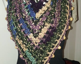 Beaded Spring Forest bandana scarf and hat set