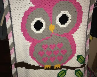 C2C Crocheted Owl Blanket With Name