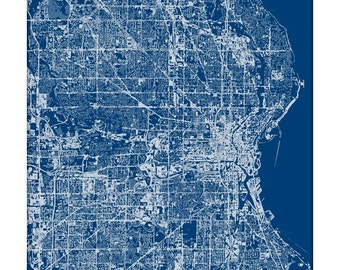 Milwaukee Cityscape Art Print / Wisconsin Abstract City Map Wall Art / 8x10 Grad Gift / Choose your Color