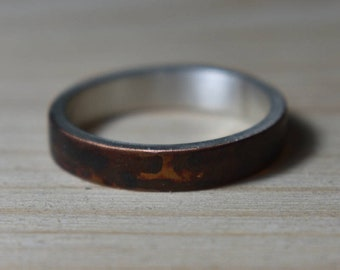 Antique Copper Womens Wedding Band. Antique Copper Wedding Rings. Unisex Copper Wedding Band. Wedding Band Oxidized Copper