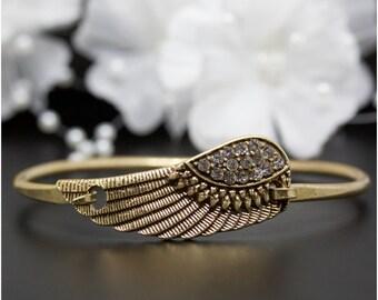 Vintage Gold Crystal Accented Angel Wing Bangle Bracelet, Gold-Tone Bangle Bracelet, Thank You Gift, Birthday Gift | #016