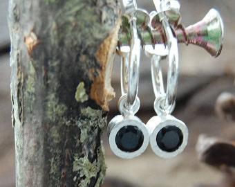 925 Silver Hoop Earrings, Black Spinel Earrings, Gemstone Hoops, Monochrome, Drop Earring, Dangle Earrings, Black Gemstone, Dainty Earrings