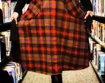 Handmade Plaid Flannel Circle Skirt