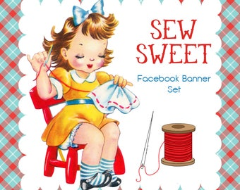 "Facebook Timeline Cover Set Cute 1950s Vintage Sewing Design ""Sew Sweet"""
