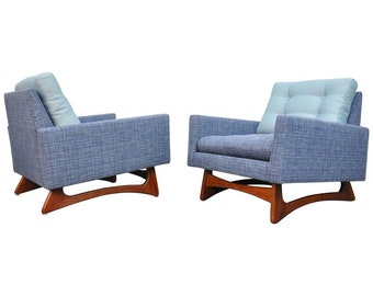 Pair of Adrian Pearsall for Craft Associates Blue Tufted Lounge Chairs