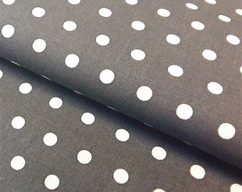 Peas grey charcoal and white polka dots fabric, cotton oeko TeX certified, 1/2 meter