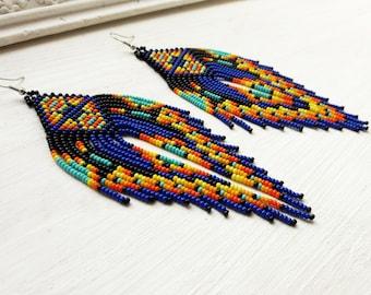 Statement tassel earrings Extra long fringe earrings Dark blue earrings Boho chic earrings Beaded dangle earrings Gypsy colorful earrings