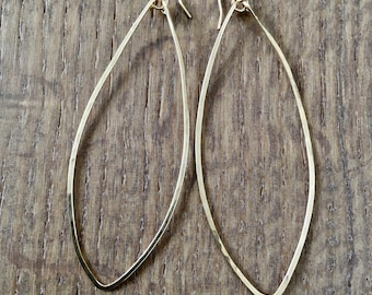 Marquis Hammered Drop Thin Wire Earrings 14 Kt Gold Filled or Silver, Long Dangle, Geometric Modern Simple Statement Jewelry, Unique Gift