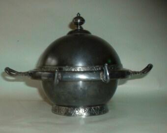 Vintage Antique Victorian Round Silverplate Butter Dish