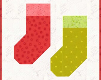 """Christmas Stockings Quilt Block Pattern, PDF, Instant Download, modern patchwork, 12"""" quilt block"""