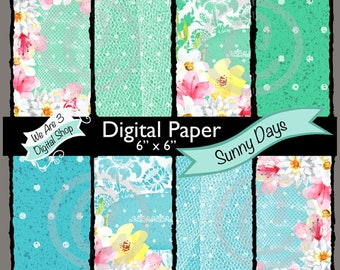 We Are 3 Digital Paper, Sunny Days, Flowers